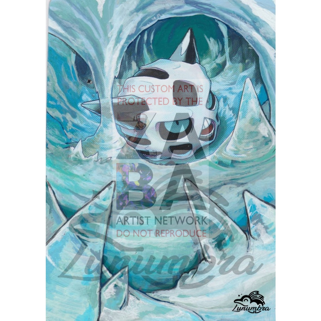 Glalie 18/99 Platinum Arceus Extended Art Custom Pokemon Card Textless Silver Holographic