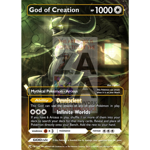 God Of Creation - Arceus Luxury Selective Holographic Custom Pokemon Card