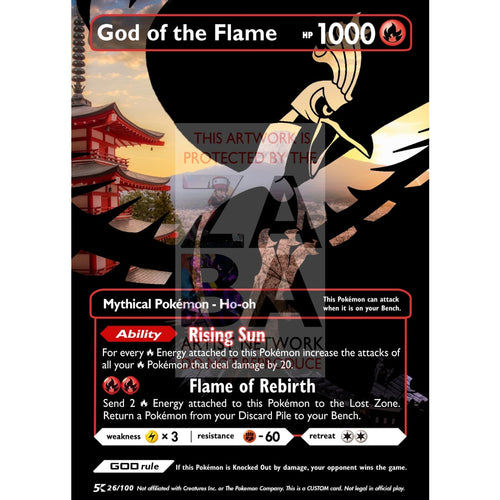 God Of The Flame - Ho-Oh (Luxury Selective Holographic Custom Pokemon Card) Card