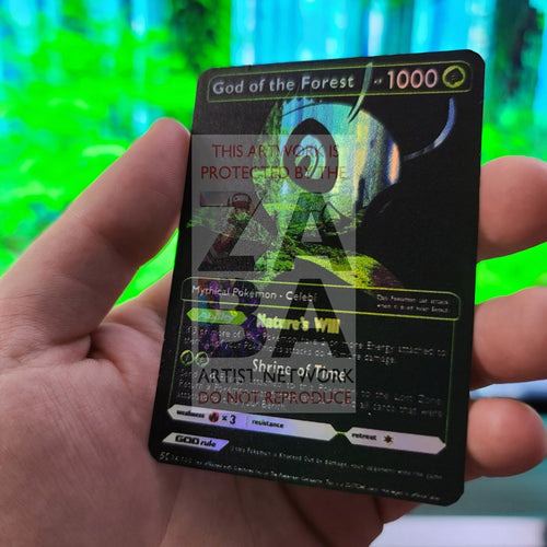 God Of The Forest - Celebi (Luxury Selective Holographic Custom Pokemon Card) Black Art Card