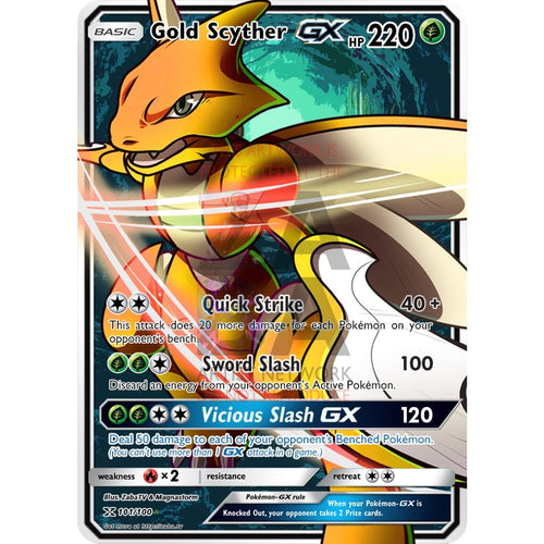 Gold Scyther Gx Secret Rare Custom Pokemon Card
