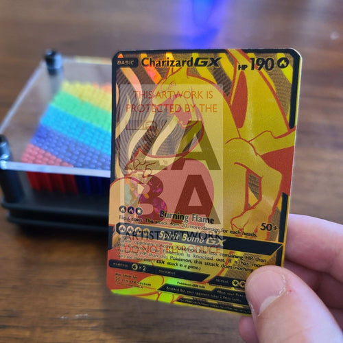 Golden Charizard Gx Luxury Custom Pokemon Card Uv Only