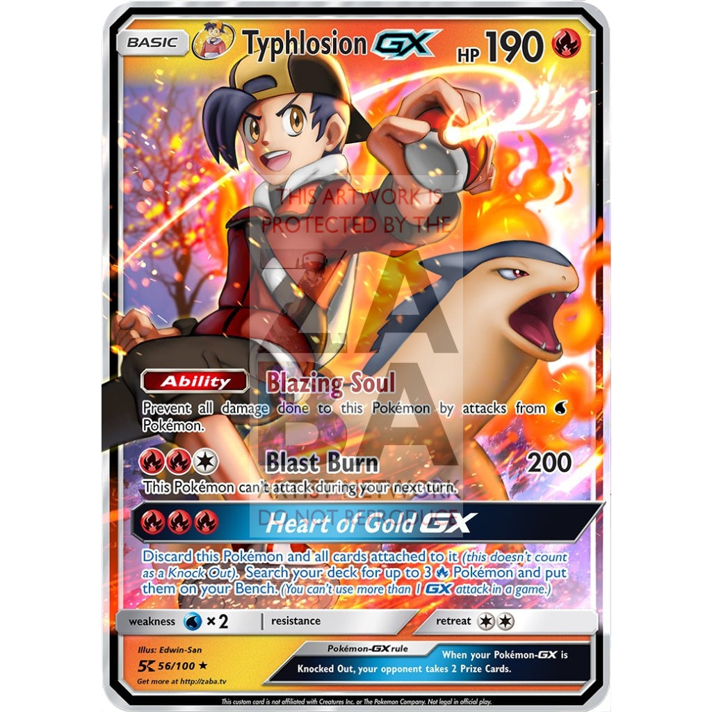 Golds Typhlosion Gx Custom Pokemon Card Silver Foil