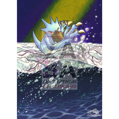 Golduck 35/62 Fossil Extended Art Custom Pokemon Card Textless Silver Holographic