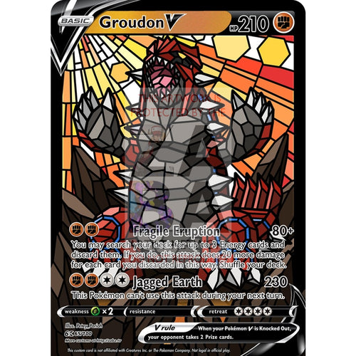 Groudon V (Stained-Glass) Custom Pokemon Card Standard / With Text Silver Foil