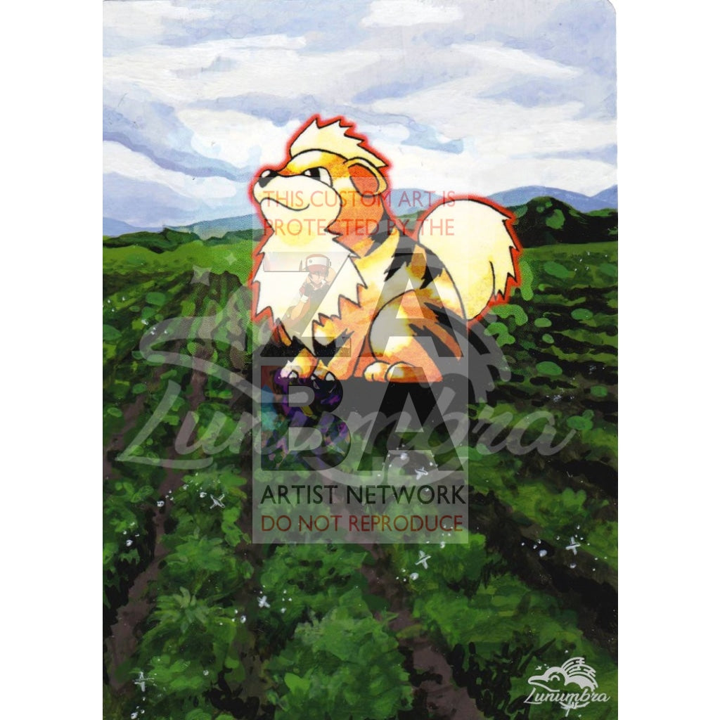 Growlithe 28/102 Base Extended Art Custom Pokemon Card Textless Silver Holographic