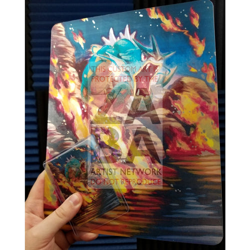 Gyarados 30/181 Team Up 8X10.5 Holographic Poster + Card Gift Set Custom Pokemon