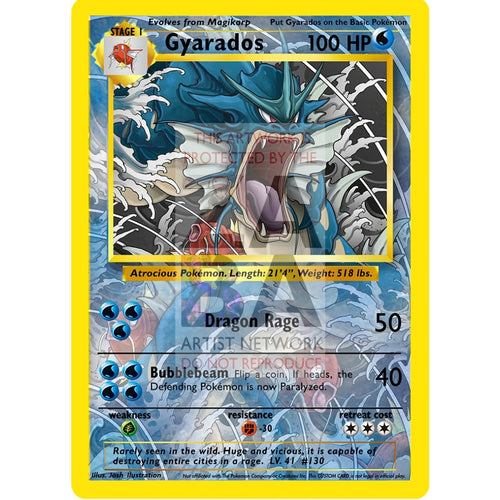Gyarados 6/102 Base Set Re-Imagined Custom Pokemon Card Silver Foil