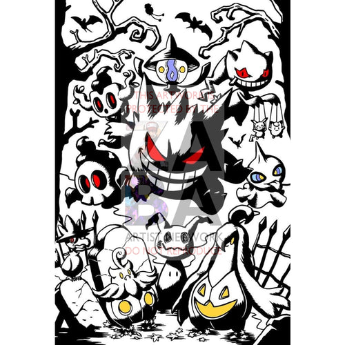 Halloween Memories Silver Foil Prints (4 Different Designs!) Custom Pokemon Art Scenes Gengars Hay