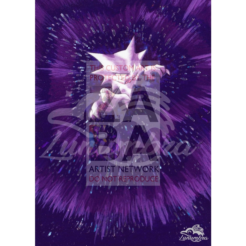 Haunter 21/62 Fossil Extended Art Custom Pokemon Card Textless Silver Holographic