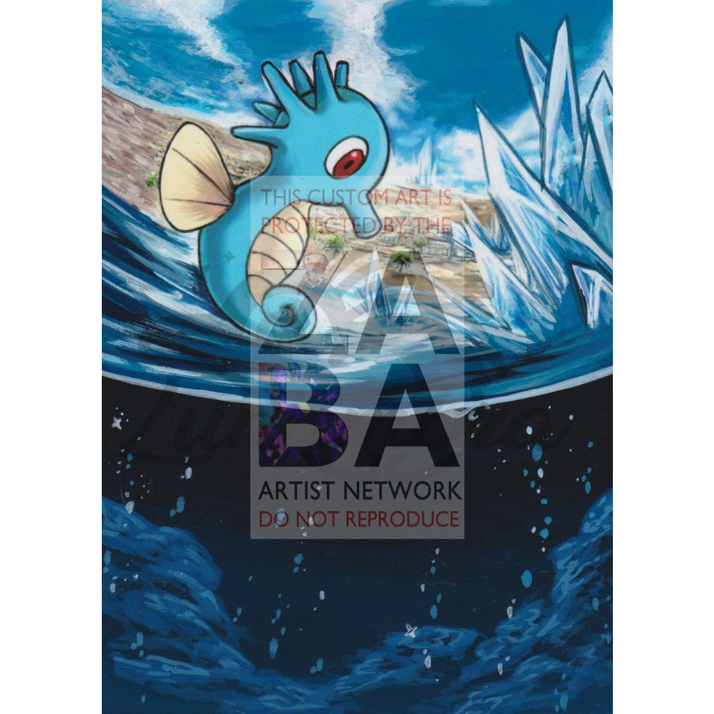 Horsea 18/116 Black & White Plasma Freeze Extended Art Custom Pokemon Card Textless Silver