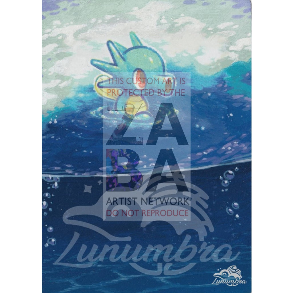 Horsea 29/147 Burning Shadows Extended Art Custom Pokemon Card Textless Silver Holographic