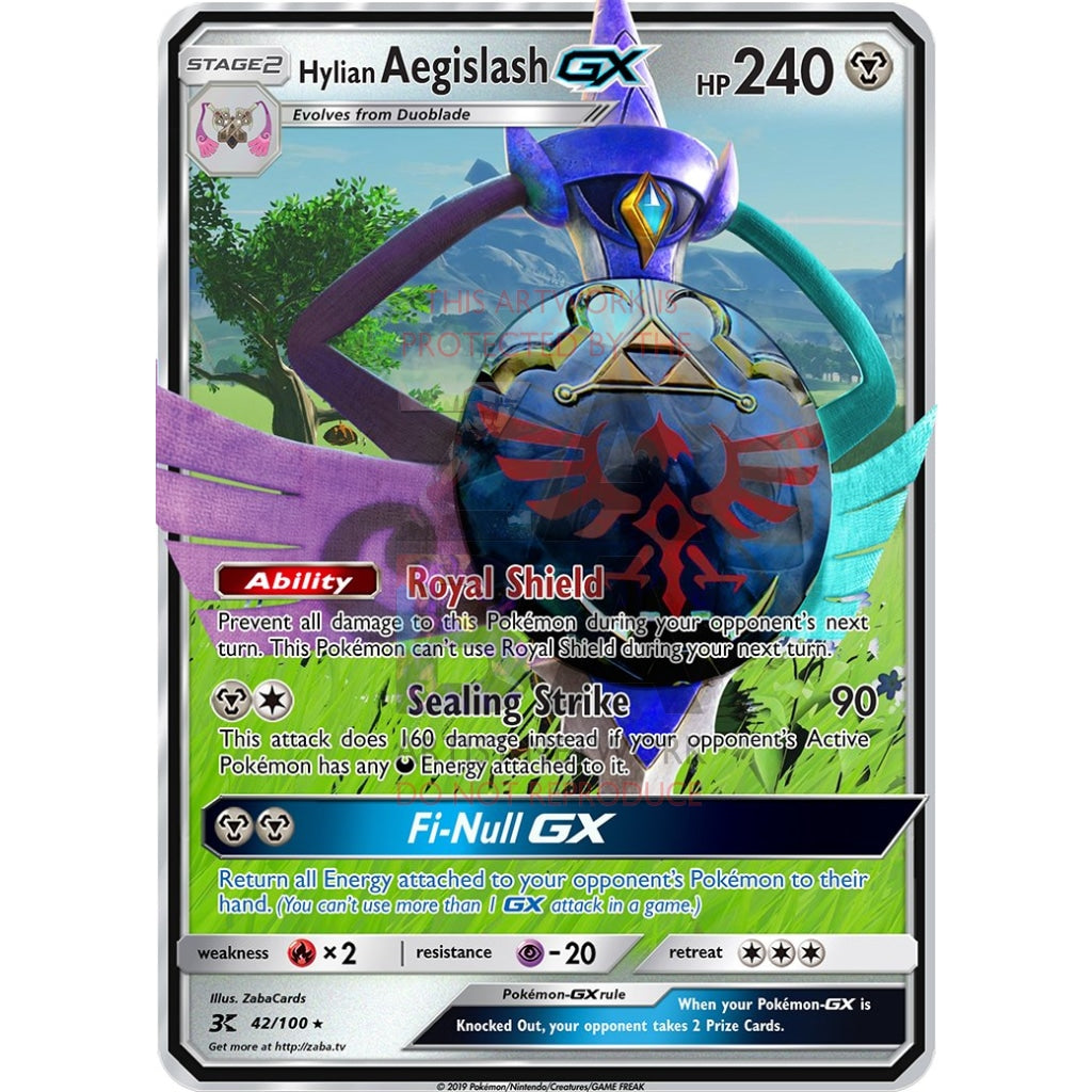 Hylian Aegislash Gx Custom Pokemon Card