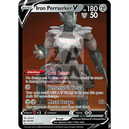 Iron Perrserker V Custom Pokemon Card Silver Foil