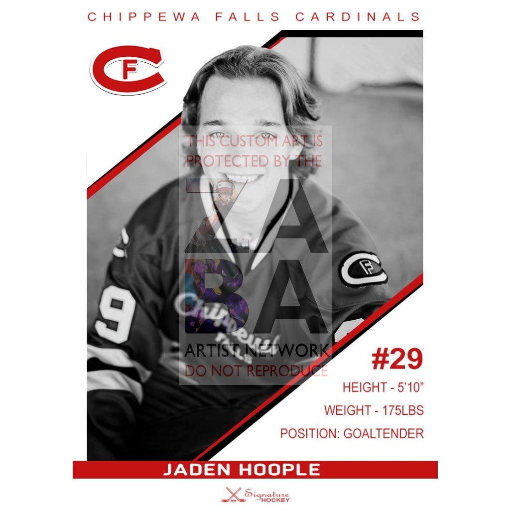 Jaden Hoople - Chippewa Falls Cardinals Collectible Card Art 1 / Copy Sports