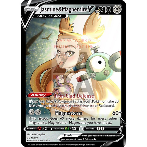 Jasmine & Magnemite V Custom Pokemon Card Silver Foil / With Text