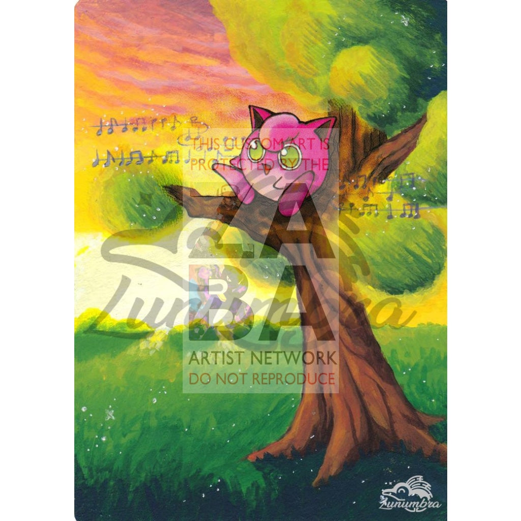 Jigglypuff 54/64 Jungle Extended Art Custom Pokemon Card Textless Silver Holographic