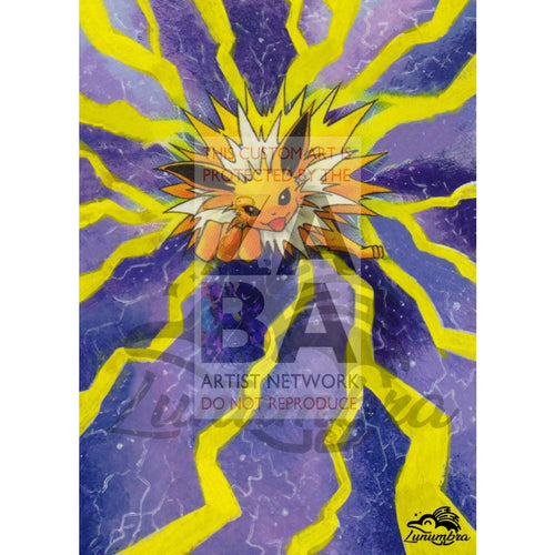 Jolteon 4/64 Jungle Extended Art Custom Pokemon Card Textless Silver Holographic