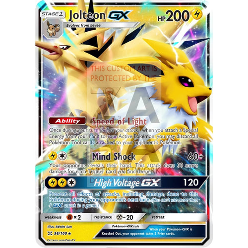 Jolteon Gx Custom Pokemon Card