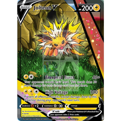 Jolteon V Custom Pokemon Card Silver Foil