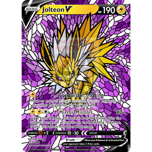 Jolteon V Stained-Glass Custom Pokemon Card Standard / Silver Foil
