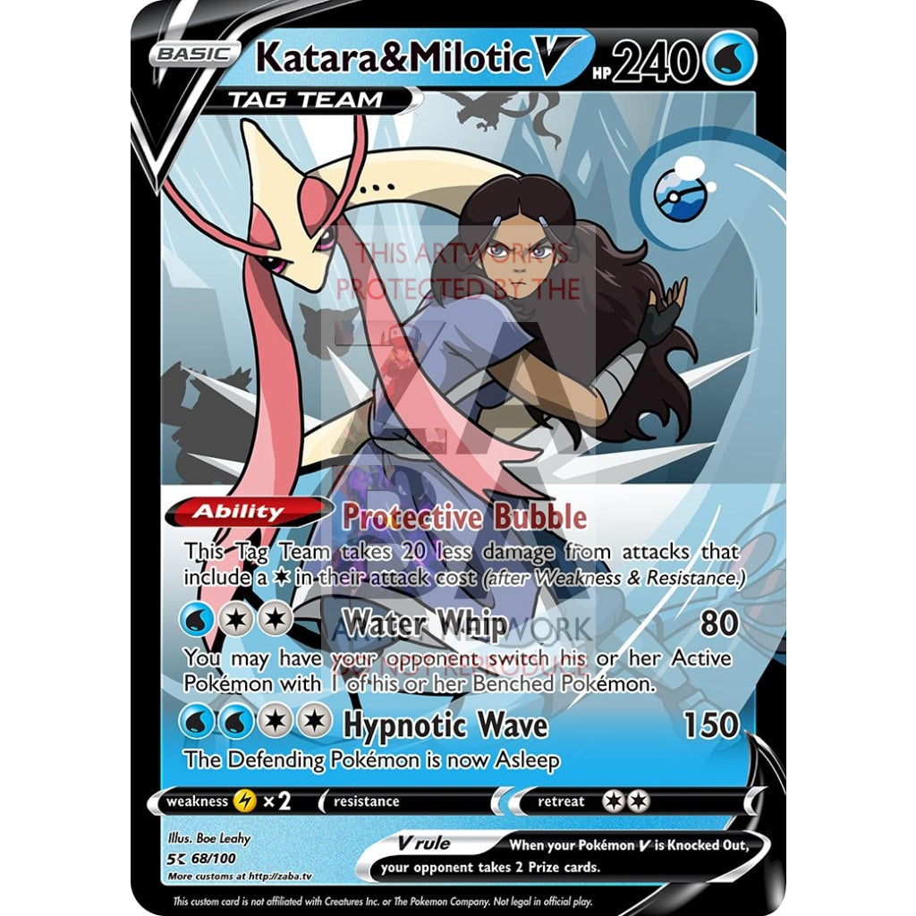 Katara & Milotic Custom Atla X Pokemon Card Silver Foil