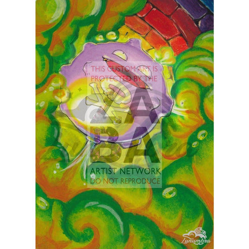 Koffing 51/102 Base Set Extended Art Custom Pokemon Card Textless Silver Holographic