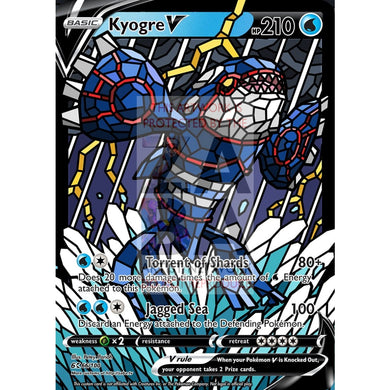 Kyogre V (Stained-Glass) Custom Pokemon Card Standard / With Text Silver Foil