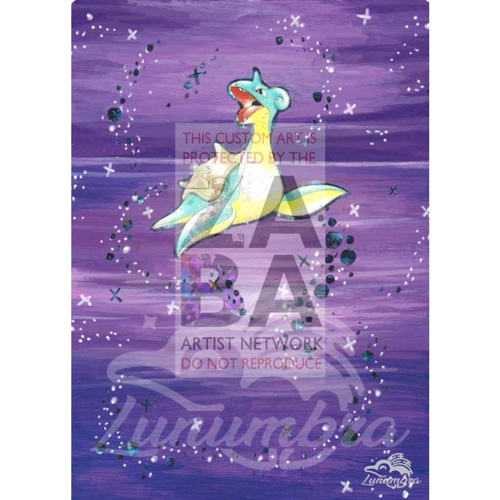 Lapras 10/62 Fossil Extended Art Custom Pokemon Card Textless Silver Holographic