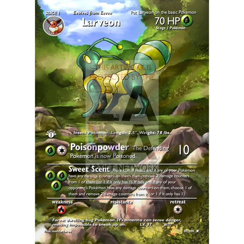 Larveon (Eeveelution) Custom Pokemon Card Extended Plus Text