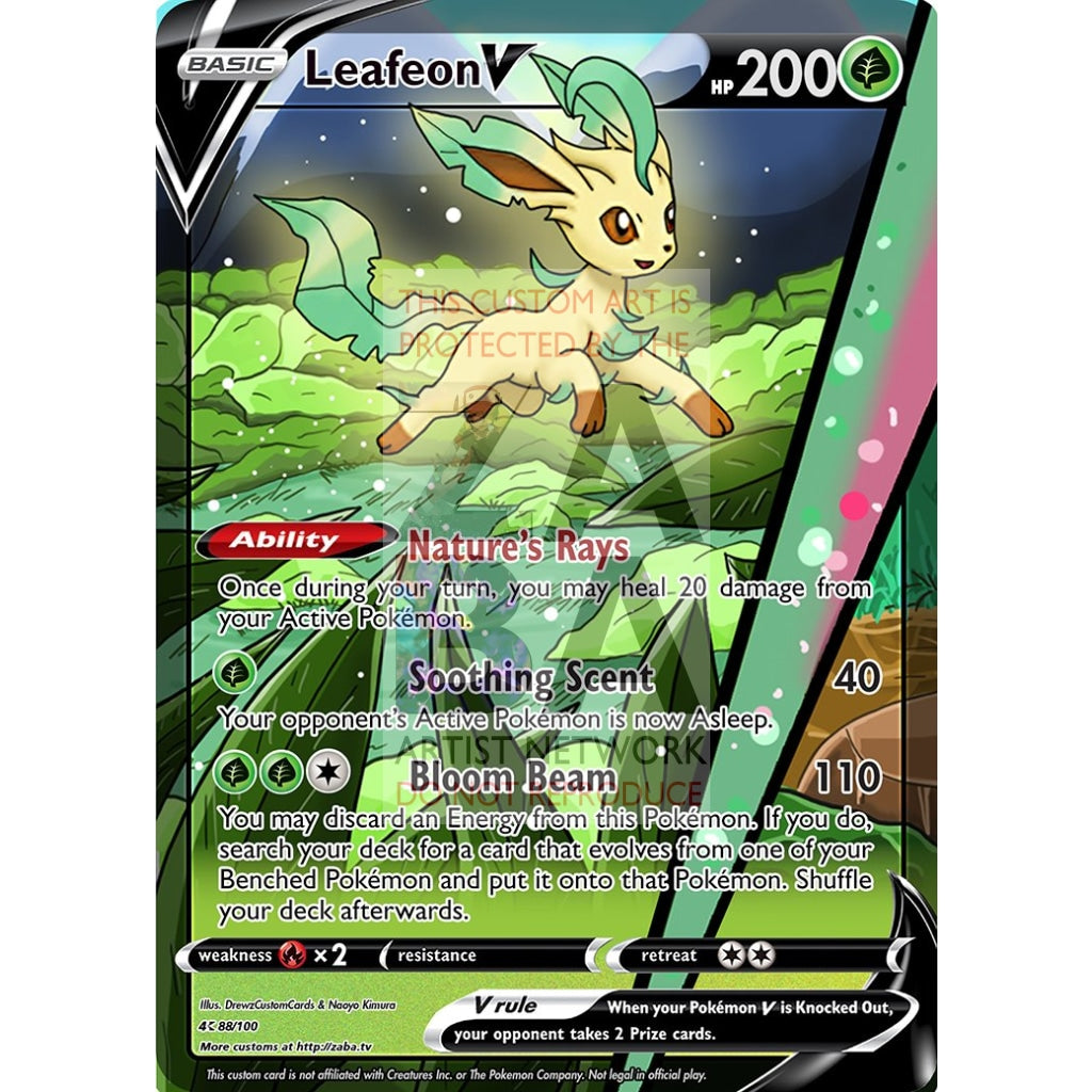 Leafeon V Custom Pokemon Card Silver Foil
