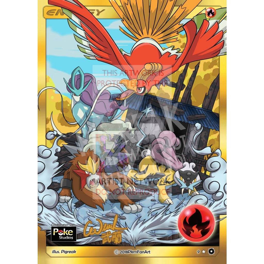 Legendary Trio & Ho-Oh Fire Energy Pigreak Custom Pokemon Card