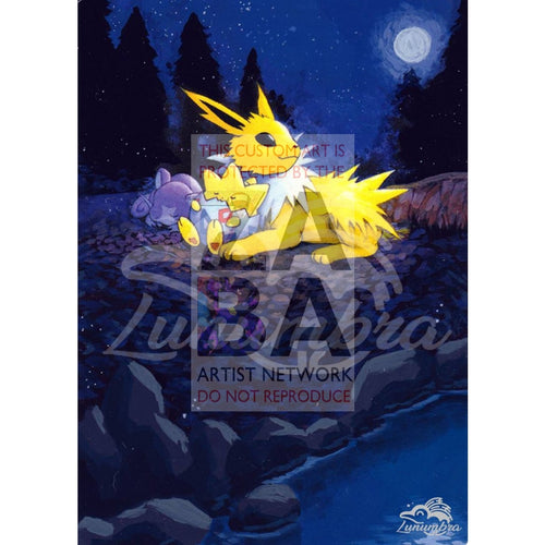 Light Jolteon 48/105 Neo Destiny Extended Art Custom Pokemon Card Textless Silver Holographic