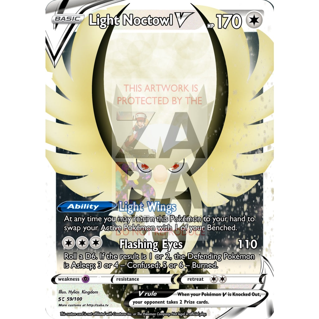 Light Noctowl V Custom Pokemon Card Silver Foil