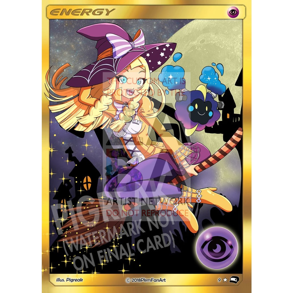 Lillie (Halloween) Psychic Energy Pigreak Custom Pokemon Card
