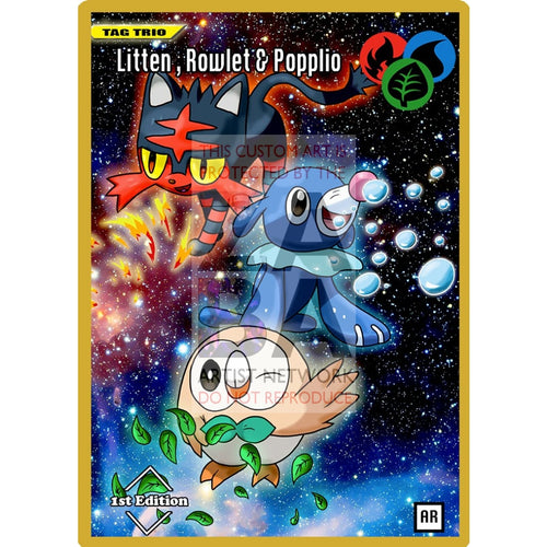 Litten Rowlet & Popplio Anime Silhouette (Drewzcustomcards) - Custom Pokemon Card