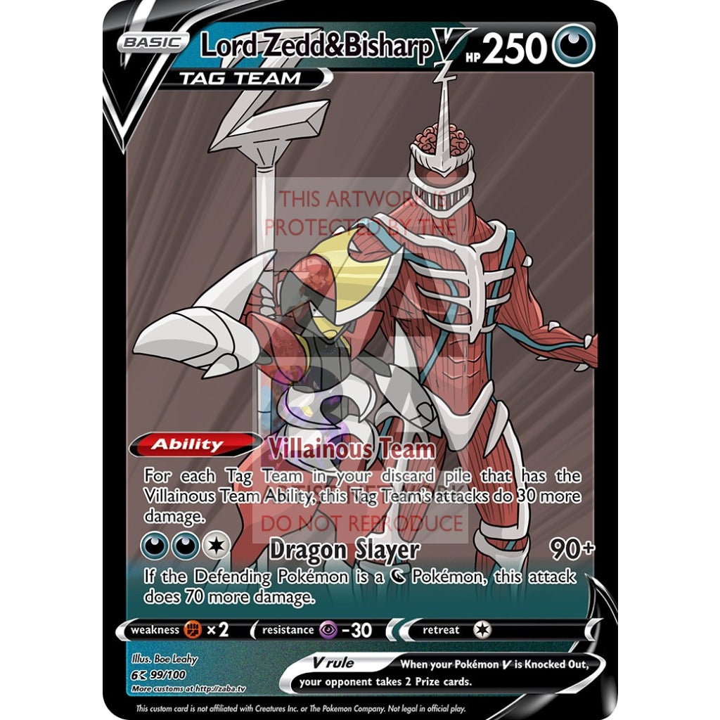 Lord Zedd & Bisharp V Custom Pokemon Card Silver Foil / With Text