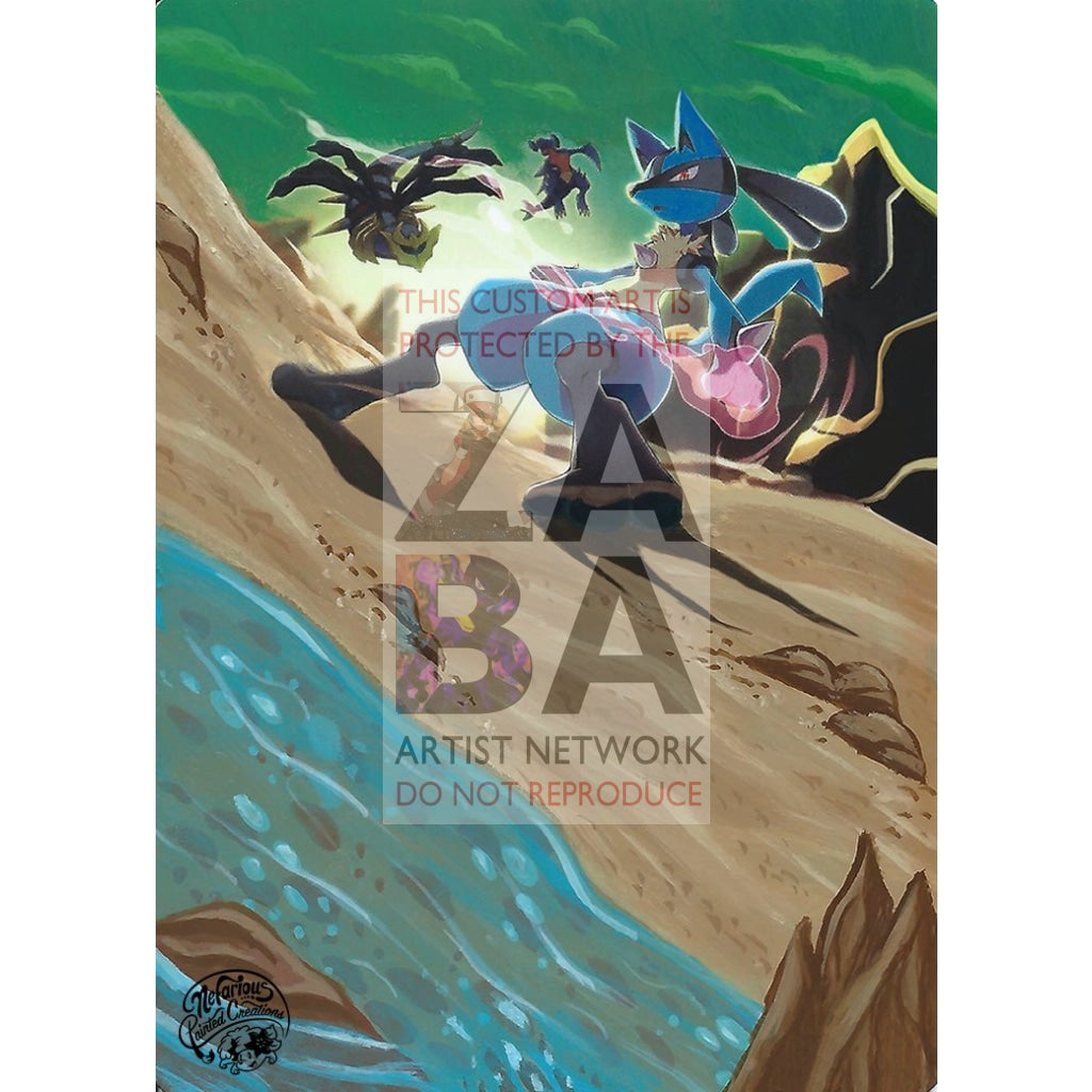 Lucario 117/236 Unified Minds Extended Art Custom Pokemon Card Silver Holo