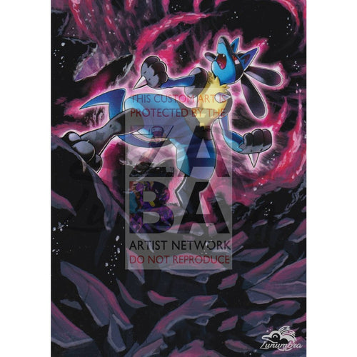 Lucario 47/124 Xy Fates Collide Extended Art Custom Pokemon Card Textless Silver Holographic