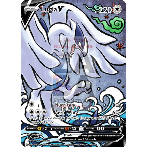 Lugia V (Traditional Japanese Style Inspired) Custom Pokemon Card Silver Holographic