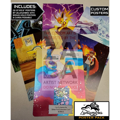 Lunumbra Poster Pack - 8X10.5 Posters + Bonus Potential Custom Pokemon Card