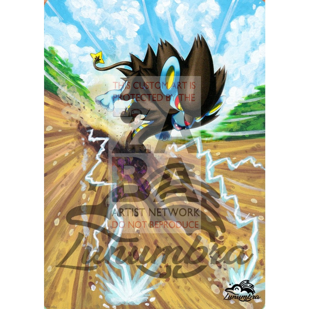 Luxray 46/122 Xy Breakpoint Extended Art Custom Pokemon Card Textless Silver Holographic