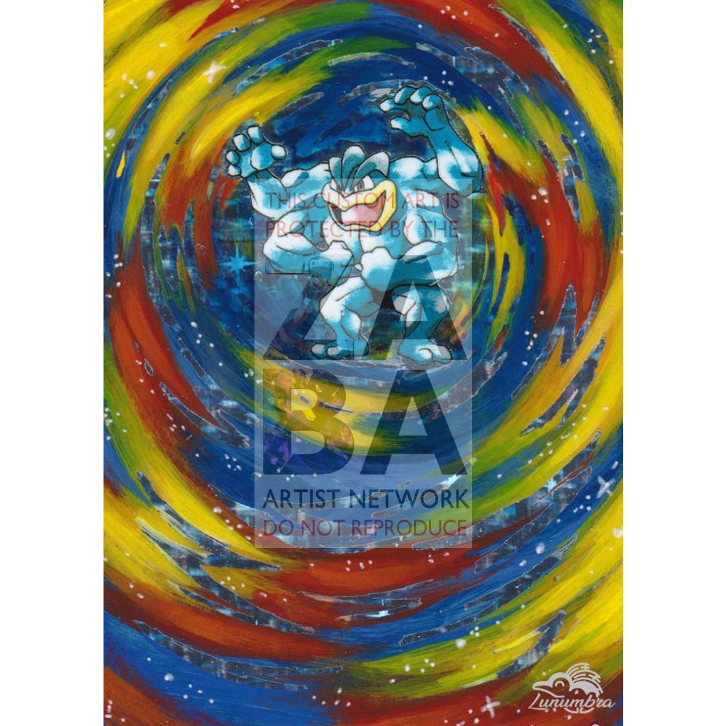 Machamp 8/102 Base Set Extended Art Custom Pokemon Card Textless Silver Holographic