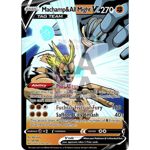 Machamp & All Might V Custom My Hero Academia X Pokemon Card Silver Foil