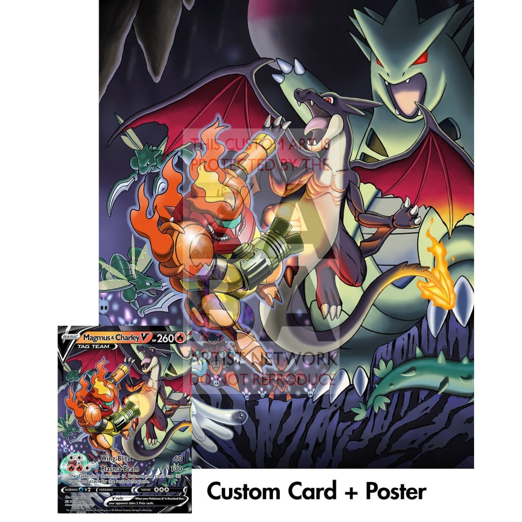 Magmus & Charley (Super Metroid Samus Ridley) 10X8 Holographic Poster + Custom Card Gift Set Orange