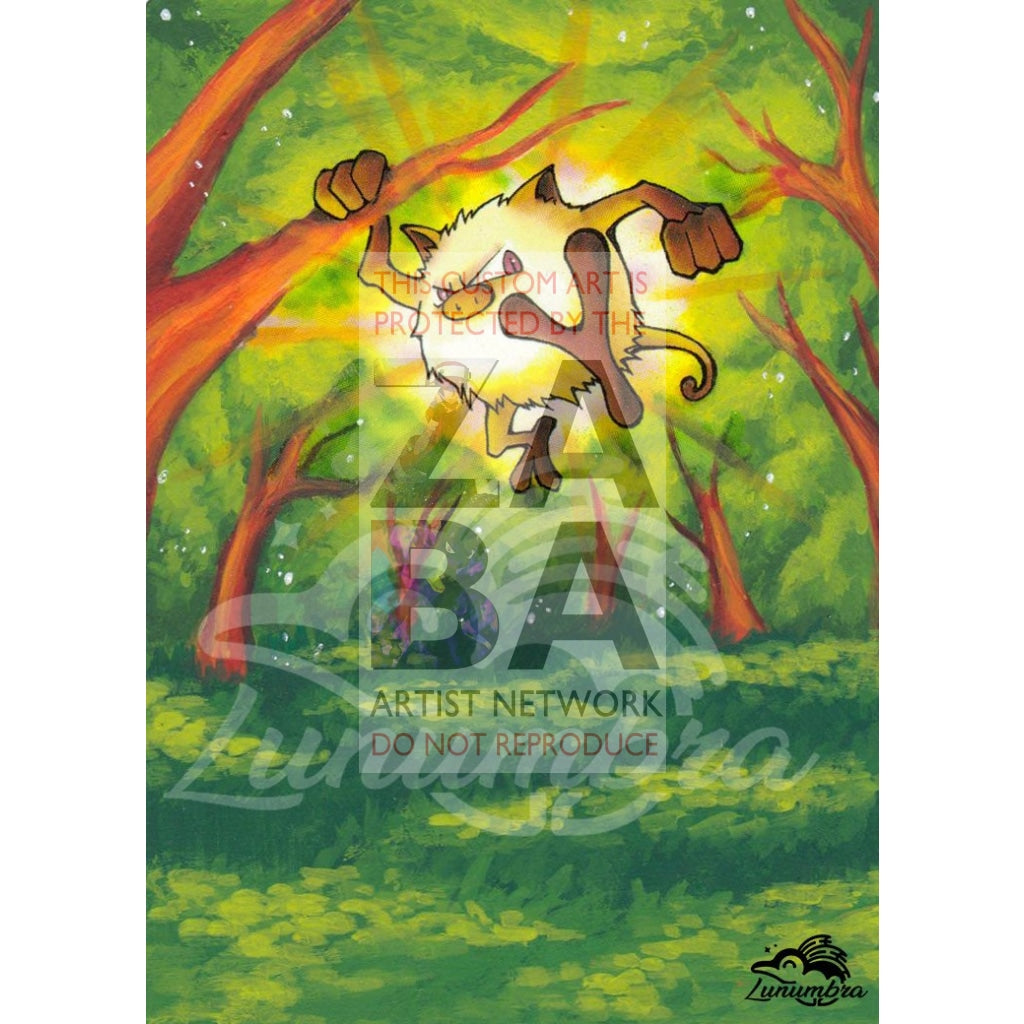 Mankey 55/64 Jungle Extended Art Custom Pokemon Card Textless Silver Holographic