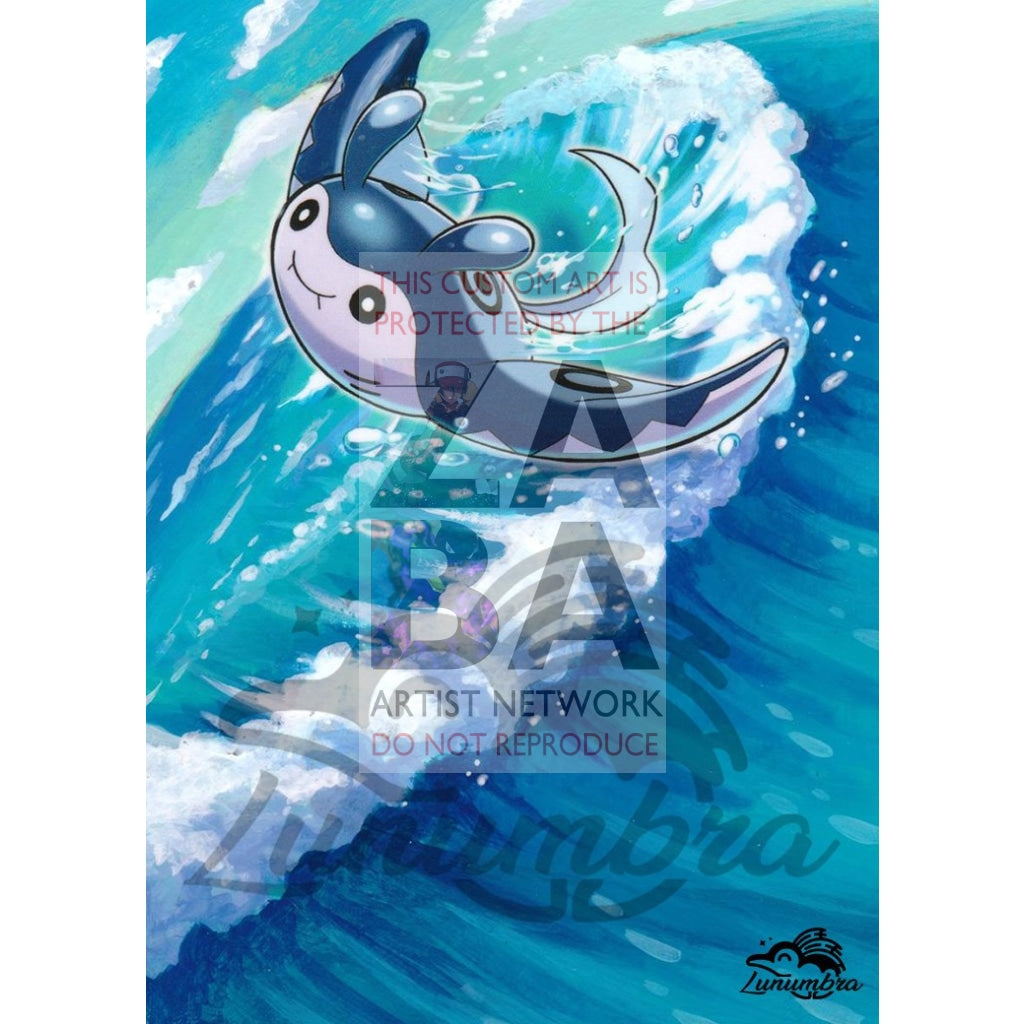 Mantine 58/214 Sun & Moon Lost Thunder Extended Art Custom Pokemon Card Textless Silver Holographic
