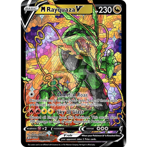 Mega Rayquaza V (Stained-Glass) Custom Pokemon Card Standard / With Text Silver Foil