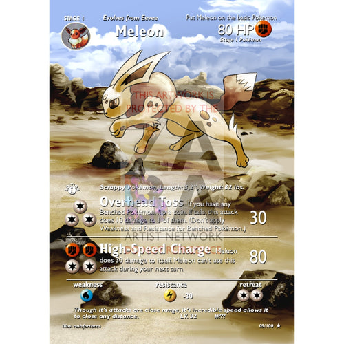 Meleon (Eeveelution) Custom Pokemon Card Extended Plus Text