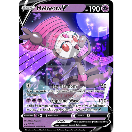 Meloetta V Custom Pokemon Card Silver Foil / With Text Psychic (Purple)